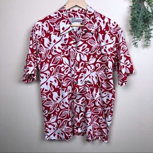 Pataloha | Red White Monstera Leaf Button Down